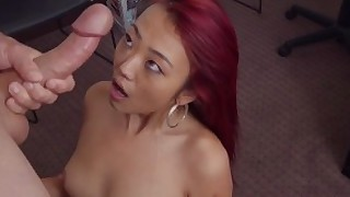 casting reality asian redhead tight-pussy blowjob throat-fucking small-tits real-tits cowgirl