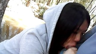 public outside blowjob public-sex asian cute cum-in-mouth swallow outdoors park