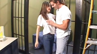 blowjob couple cum in mouth doggy style japanese jeans long hair milf natural tits prison