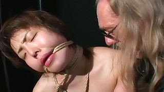 asian bdsm bondage hd old man short hair slave small tits wax