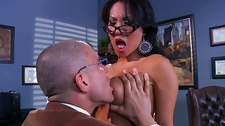anal asian ass blowjob brunette glasses hardcore interracial natural tits office