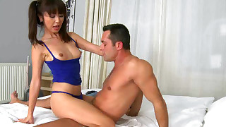 shaved pussy riding pornstar pigtails perfect body natural tits asian bedroom blowjob cum swallow