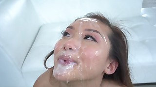 asian babes blowjob bukkake close up covered cum in mouth cumshot doggy style facial