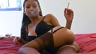 asian big tits cigarette fetish foot fetish lingerie shaved pussy smoking solo girl stockings