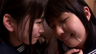 asian blowjob facial ffm japanese schoolgirl teen threesome toilet uniform