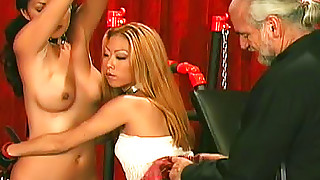 asian bdsm big tits blonde bondage brunette perfect body shaved pussy threesome