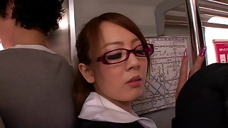 asian big tits blowjob cum on tits glasses japanese public watching