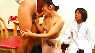 blowjob facial hairy japanese nurse pornstar small tits stockings threesome