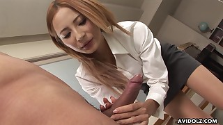 asian blonde cfnm handjob office