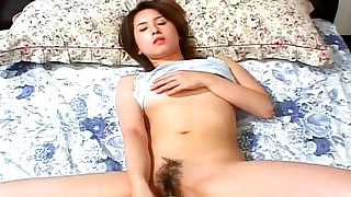 asian bedroom brunette japanese masturbation petite small tits solo girl toys trimmed pussy