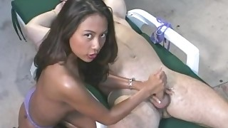 asian bikini cumshot handjob natural tits oil outdoor perfect body