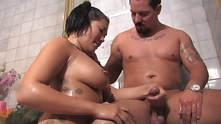 asian bathroom big tits blowjob facial massage natural tits oil shower soapy