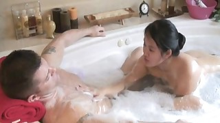 69 sex asian bathroom blowjob massage natural tits pussy licking shower soapy young girl