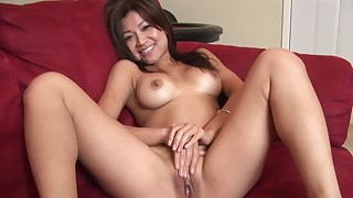 asian beauty masturbation natural tits perfect body sofa solo trimmed pussy