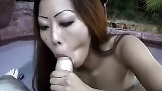 asian blowjob cumshot facial milf natural tits outdoor redhead