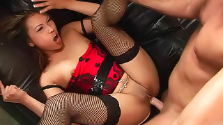 asian blowjob corset facial fishnet hd shaved pussy small tits stockings
