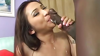 asian blowjob cumshot interracial stockings