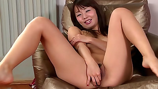 asian brunette fingering lingerie natural tits trimmed pussy upskirt