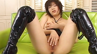 asian brunette fingering high heels lingerie masturbation shaved pussy short hair small tits sofa