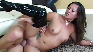 asian blowjob boots doggy style hardcore pornstar riding shaved pussy small tits tattoo