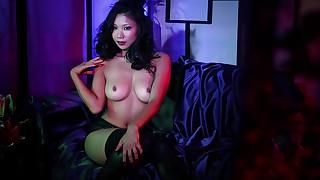 asian babes brunette lingerie natural tits nipples perfect body petite sofa solo girl