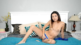 asian beauty bed bedroom brunette dress long hair shaved pussy skinny small tits