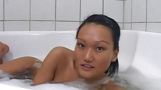 asian bathroom masturbation natural tits ponytail shaved pussy young girl
