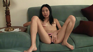 asian fingering masturbation natural tits panties skinny sofa solo girl