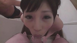 ass blowjob cum in mouth cum swallow japanese mmf panties pov small cock small tits
