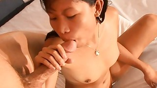 asian bed big dick blowjob condom couple cum on tits doggy style interracial riding